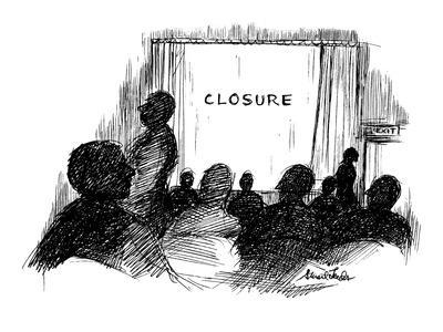 People leaving movie theatre, Instead of 'the end' it says 'closure.' - New Yorker Cartoon