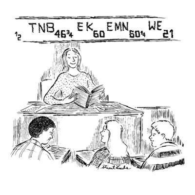 Schoolteacher sits in front of class of teenagers while stock market quote? - New Yorker Cartoon by Stuart Leeds