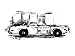 Sign on taxi cab door reads; Useful Information Cab Company, andlists meas? - New Yorker Cartoon by Stuart Leeds