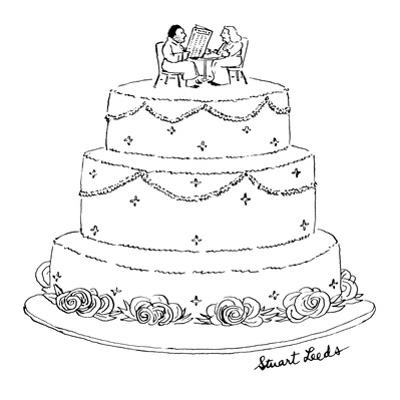 Wedding cake with man and woman sitting on top.  The man appears unshaven ? - New Yorker Cartoon by Stuart Leeds