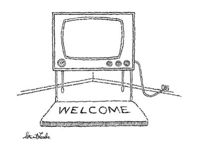 Welcome mat in front of television. - New Yorker Cartoon by Stuart Leeds