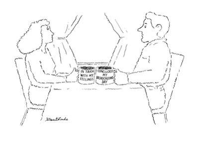 """Woman and man each with a mug, the woman's says """"In touch with my feelings? - New Yorker Cartoon by Stuart Leeds"""