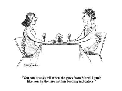 """""""You can always tell when the guys from Merril Lynch like you by the rise ?"""" - Cartoon by Stuart Leeds"""