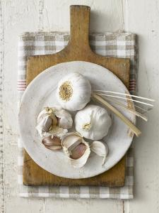 Garlic Bulbs and Cloves on a Plate by Stuart West