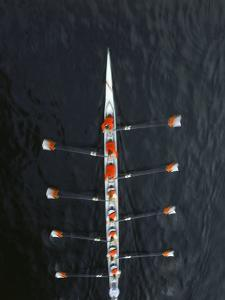 Aerial of Rowing Crew in Motion by Stuart Westmorland
