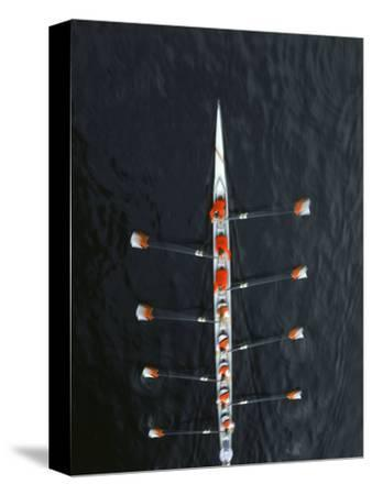 Aerial of Rowing Crew in Motion