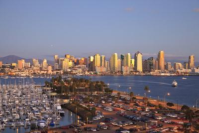 San Diego Skyline with Harbor Island Boats, California, USA, Summer