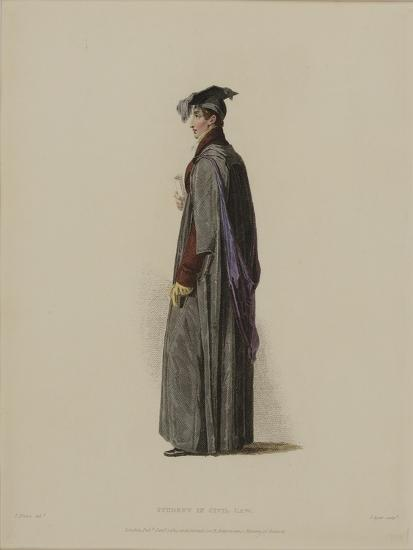 Student in Civil Law, Engraved by J. Agar, Published in R. Ackermann's 'History of Oxford', 1814-Thomas Uwins-Giclee Print