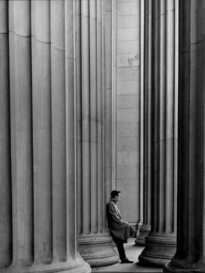 Student Leaning Against Ionic Columns at Entrance of Main Building at MIT-Gjon Mili-Photographic Print
