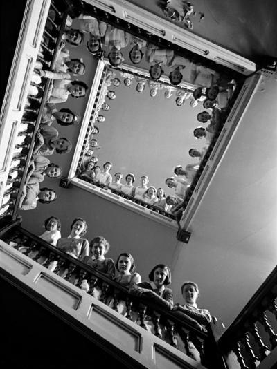 Student Nurses Lining the Railings of Stairwell at Roosevelt Hospital-Alfred Eisenstaedt-Photographic Print