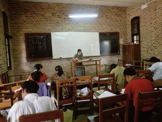 Students During a Lesson in a University Classroom in Rangoon, Burma-xPacifica-Photographic Print