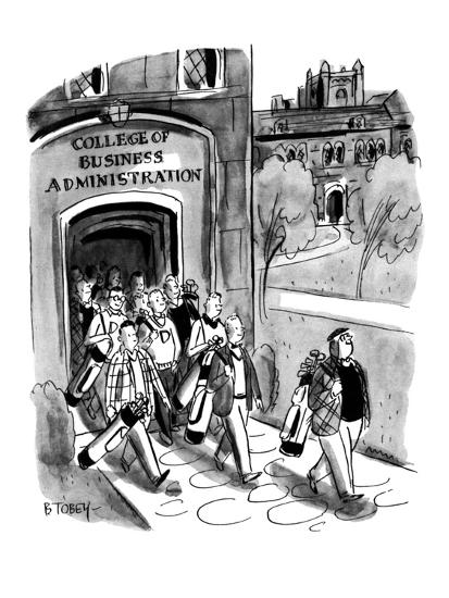 Students leaving campus of the College of Business Administration are all ? - New Yorker Cartoon-Barney Tobey-Premium Giclee Print