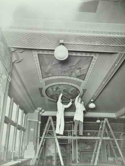 Students Painting a Design on the Ceiling, School of Building, Brixton, London, 1939--Photographic Print
