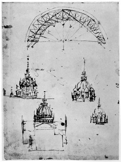 Studies for the Central Cupola of Milan Cathedral, Late 15th Century-Leonardo da Vinci-Giclee Print