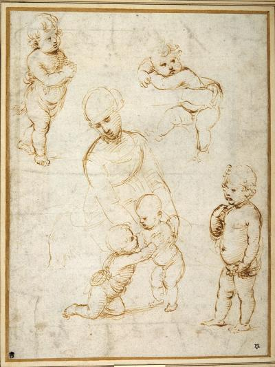 Studies for the 'Madonna of the Meadow', C.1505-Raphael-Giclee Print