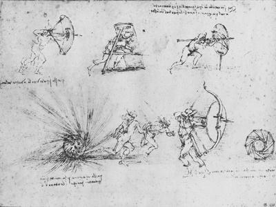 'Studies of Shields for Protecting Foot Soldiers and of a Bomb exploding',c1480 (1945)-Leonardo da Vinci-Framed Giclee Print