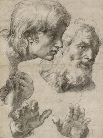 Studies of the Heads of Two Apostles and of their Hands-Raphael-Giclee Print