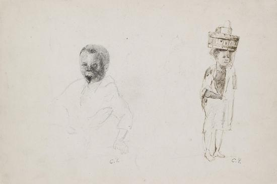 Studies of Two Young Boys with Faint Indications of a Female Figure, 1852-Camille Pissarro-Giclee Print