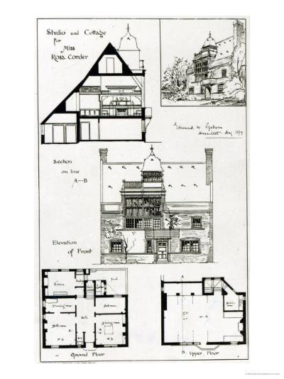 Studio and Cottage For Miss Rosa Corder, from 'The British Architect', 3rd October 1879--Giclee Print