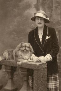 Studio Portrait, Woman with Pekingese Dog