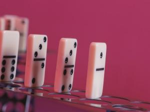 Studio Shot of a Game of Dominos