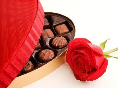 Studio Shot of Box of Romantic Chocolates and Red Rose--Photographic Print