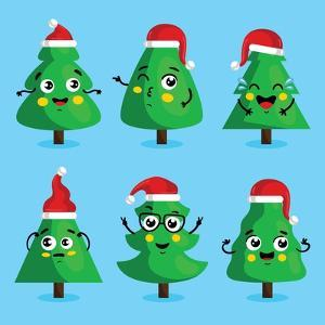 Funny Christmas Tree and Vector Christmas Tree on White Background. Cartoon Christmas Tree Icon And by studioworkstock