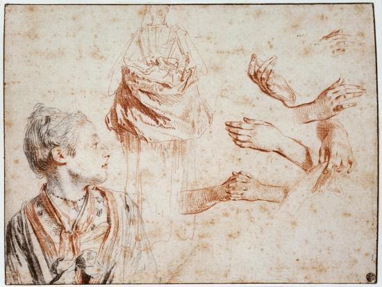 Study, 1716-1718-Jean-Antoine Watteau-Giclee Print