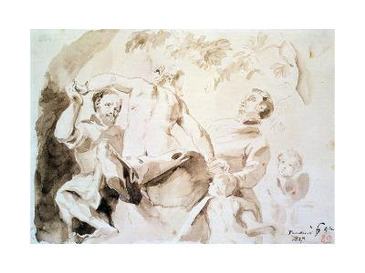 Study after Veronese's Allegory of Love, 1837 (Pen and Ink and Wash on Paper)-Eugene Delacroix-Giclee Print