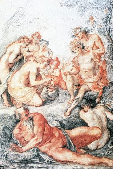 Study, Baptism of a Child, C1584-1609-Joseph Heintz the Elder-Giclee Print