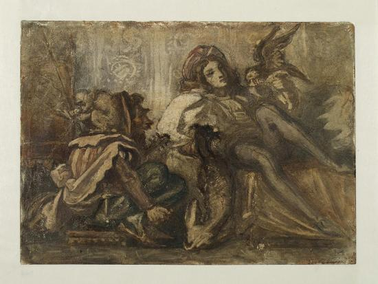 Study for a Composition Showing a Jester, a Male Figure and a Bird, 1845-52-Frederic Leighton-Giclee Print