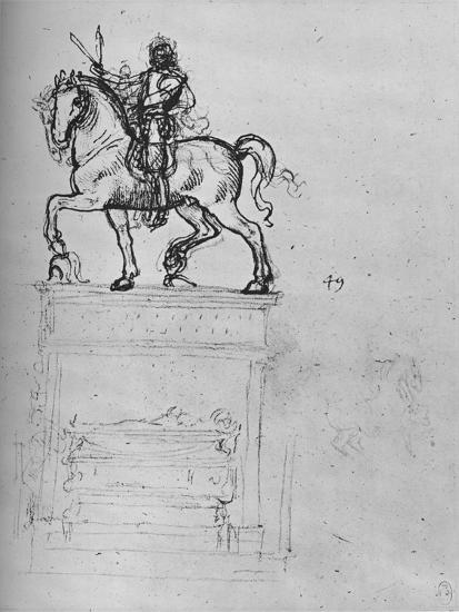 'Study for an Equestrian Monument', c1480 (1945)-Leonardo da Vinci-Giclee Print