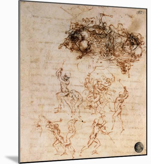 Study for the Battle of Anghiari, 1504-5-Leonardo da Vinci-Mounted Giclee Print