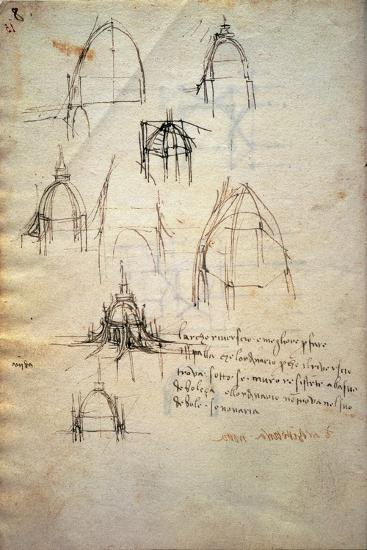 Study for the Dome of the Cathedral of Milan, the Code Trivulzianus, 1478-1490-Leonardo da Vinci-Giclee Print