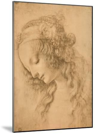 Study for the Face of the Virgin Mary of the Annunciation Now in the Louvre-Leonardo da Vinci-Mounted Print
