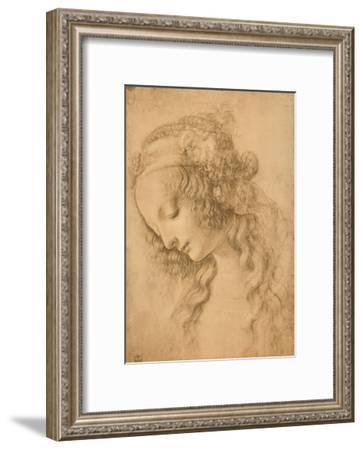 Study for the Face of the Virgin Mary of the Annunciation Now in the Louvre-Leonardo da Vinci-Framed Giclee Print