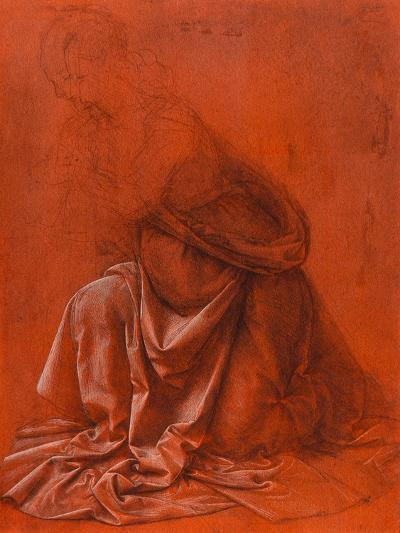 Study for the Folds of a Garment of a Female Figure Silverpoint Drawing-Leonardo da Vinci-Giclee Print
