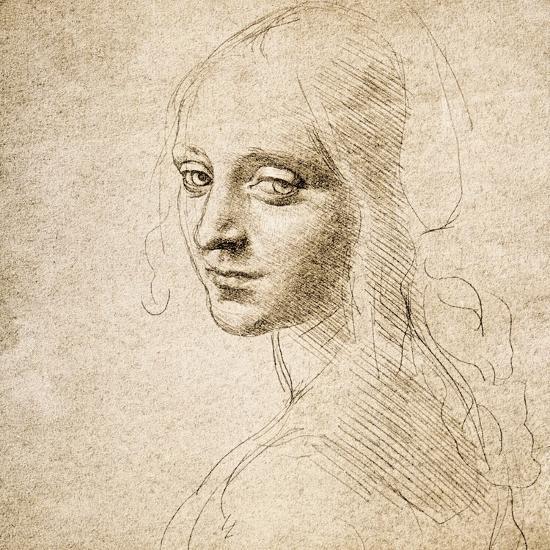 Study for the Head of a Girl, c.1483-Leonardo da Vinci-Premium Giclee Print
