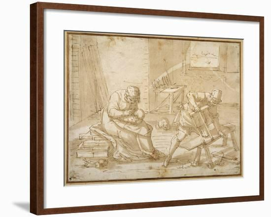 Study for the Holy Family in the Carpenter's Shop-Luca Cambiaso-Framed Giclee Print