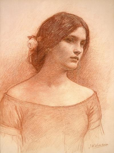 Study for 'The Lady Clare', C.1900 (Red Chalk on Paper) (See 55018)-John William Waterhouse-Giclee Print
