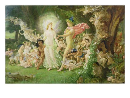 Study for the Quarrel of Oberon and Titania, C.1849 (See also 68757)-Sir Joseph Noel Paton-Giclee Print