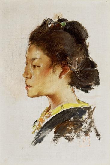 Study Head of a Japanese Girl, 1890-92-Robert Frederick Blum-Giclee Print