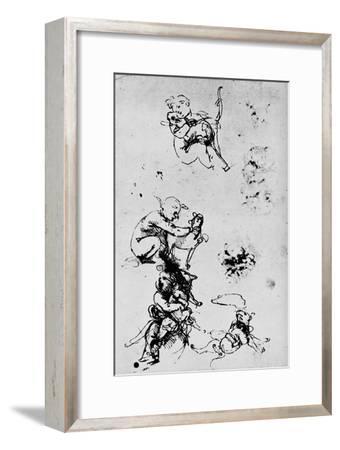 'Study of a Child with a Cat', 1478-1481 (1945)-Leonardo da Vinci-Framed Giclee Print
