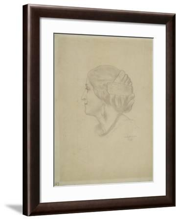 Study of a Female Head, 1852-55-Frederic Leighton-Framed Giclee Print