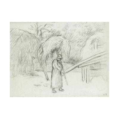 Study of a Female Peasant Carrying a Load of Hay in the Farmyard at Foucault, C. 1875-Camille Pissarro-Giclee Print