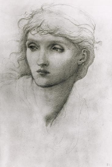 Study of a Girl's Head-Edward Burne-Jones-Giclee Print