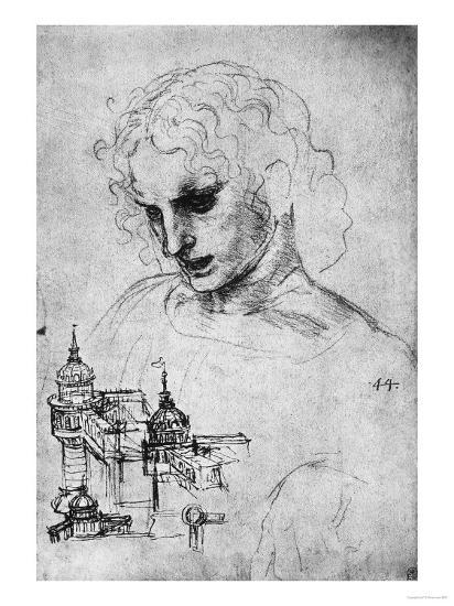 Study of a Head and of an Architectural Structure, Windsor Castle-Leonardo da Vinci-Giclee Print