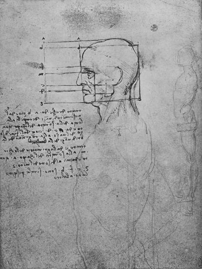 'Study of a Man's Nude Torso, the Head Squared for Proportion', c1480 (1945)-Leonardo da Vinci-Giclee Print