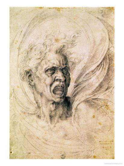 Study of a Man Shouting-Michelangelo Buonarroti-Giclee Print