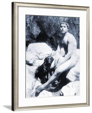Study of a Nude Boy with Dog, C.1901-Wilhelm Von Gloeden-Framed Photographic Print